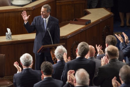 Boehner gets a standing ovation before his farewell address.  (Al Drago/CQ Roll Call)