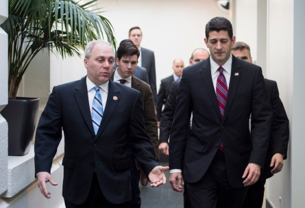 UNITED STATES - JANUARY 6: House Majority Whip Steve Scalise, R-La., left, speaks with Speaker of the House Paul Ryan, R-Wis., following the House Republican Conference meeting in the Capitol on Wednesday, Jan. 6, 2016. (Photo By Bill Clark/CQ Roll Call)