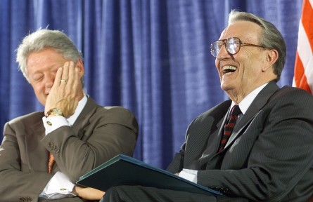 BETHESDA, UNITED STATES:  US President Bill Clinton (L) laughs with former US Senator Dale Bumpers(D-AR) during the National Institutes of Health dedication ceremony of the Dale and Betty Bumpers Vaccine Research center 09 June 1999 in Bethesda, MD.  After the ceremony, Clinton said he was pleased to hear about the agreement reached  between NATO and Serbian military officials. (ELECTRONIC IMAGE) AFP PHOTO Joyce NALTCHAYAN (Photo credit should read JOYCE NALTCHAYAN/AFP/Getty Images)