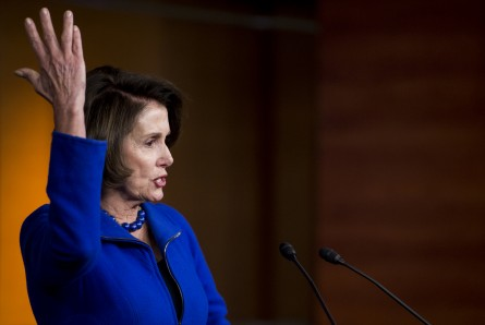 UNITED STATES - JANUARY 7: House Minority Leader Nancy Pelosi, D-Calif., holds her weekly on camera press conference in the Capitol on Thursday, Jan. 7, 2016. (Photo By Bill Clark/CQ Roll Call)