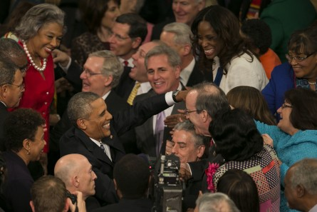 UNITED STATES - JANUARY 12 - President Barack Obama greets elected officials as he enters his final State of the Union to a joint session of Congress in the House Chamber on Capitol Hill in Washington, Tuesday, Jan. 12, 2016. (Photo By Al Drago/CQ Roll Call)