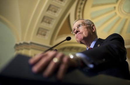 UNITED STATES - DECEMBER 8: Senate Minority Leader Harry Reid (D-NV) holds his news conference with Senate Democratic leadership following the Democrats' lunch in the Capitol on Tuesday, Dec. 8, 2015. (Photo By Bill Clark/CQ Roll Call)