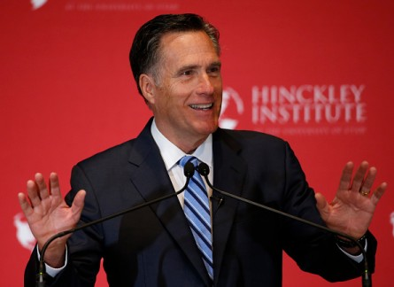 SALT LAKE CITY, UT - MARCH 3: Former Massachusetts Gov. Mitt Romney gives a speech on the state of the Republican party at the Hinckley Institute of Politics on the campus of the University of Utah on March 3, 2016 in Salt Lake City, Utah. Romney spoke about Donald Trump calling him a fraud and arguing against his nomination.  (Photo by George Frey/Getty Images)
