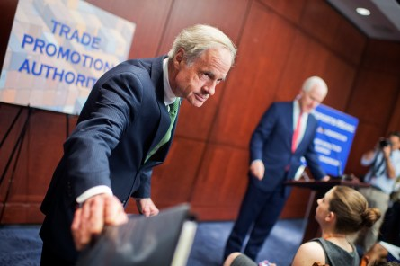 Carper was one of the Democrats summoned to the White House to resurrect the trade deal. (Tom Williams/CQ Roll Call)
