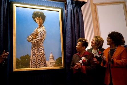 Chisholm could be a contender for the new $10 bill. Her portrait was dedicated in March 2009, with Reps. Barbara Lee, Nancy Pelosi and Maxine Waters. (CQ Roll Call File Photo)