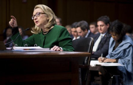 UNITED STATES - JANUARY 23: Secretary of State Hillary Clinton testifies during the Senate Foreign Relations Committee hearing on the September 11th attacks against the U.S. mission in Benghazi on  Wednesday morning, January 23, 2013. (Photo By Bill Clark/CQ Roll Call)
