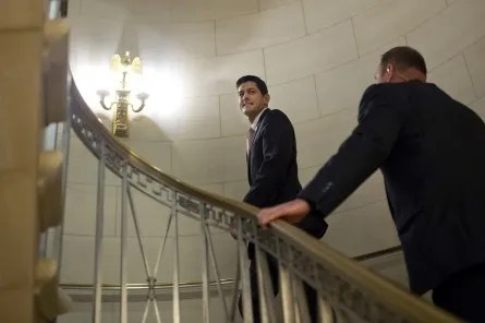 UNITED STATES - OCTOBER 28: Rep. Paul Ryan, R-Wisc., leaves a  House Republican Conference meeting in Longworth Building where he was nominated as their Speaker of the House candidate, October 28, 2015. (Photo By Tom Williams/CQ Roll Call)