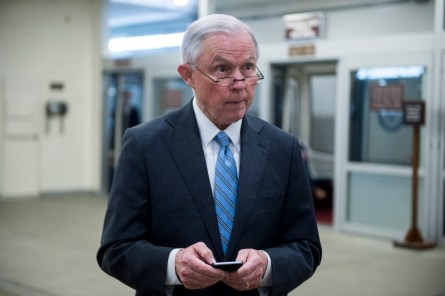 UNITED STATES - JANUARY 27: Sen. Jeff Sessions, R-Ala., gets off the Senate subway as he arrives for the Senate Republicans' policy lunch on Wednesday, Jan. 27, 2016. (Photo By Bill Clark/CQ Roll Call)