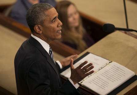 UNITED STATES - JANUARY 12 - President Barack Obama speaks during his final State of the Union to a joint session of Congress in the House Chamber on Capitol Hill in Washington, Tuesday, Jan. 12, 2016. (Photo By Al Drago/CQ Roll Call)