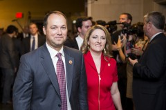 UNITED STATES - JUNE 19: Rep. Marlin Stutzman, R-Ind., and his wife Christy arrive for the House GOP leadership election in the House Ways and Means Committee hearing room in the Longworth House Office Building on Thursday, June 19, 2014. Stutzman is running for the House Majority Whip position. (Photo By Bill Clark/CQ Roll Call)