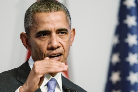 US President Barack Obama gestures during a press conference following the G20 summit in Antalya on November 16, 2015. Obama said on November 16 the United States had no precise intelligence warning of the Paris bombing and shooting attacks that have been claimed by Islamic State group jihadists. The United States has agreed to speed up its sharing of military intelligence with France to try to avert such assaults, the US leader added in a news conference after a summit in Turkey. AFP PHOTO /OZAN KOSE        (Photo credit should read OZAN KOSE/AFP/Getty Images)