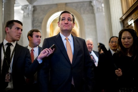 UNITED STATES - DECEMBER 01: Sen. Ted Cruz, R-Texas, talks with reporters after the Senate Policy luncheons in the Capitol, December 1, 2015. (Photo By Tom Williams/CQ Roll Call)