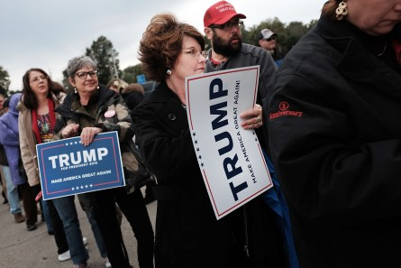 BILOXI, MS - JANUARY 02:  Supporters of the Republican presidential frontrunner Donald Trump wait to hear him speak at the Mississippi Coast Coliseum on January 2, 2016 in Biloxi, Mississippi. Trump, who has strong support from Southern voters, spoke to thousands in the small Mississippi city on the Gulf of Mexico. Trump continues to split the GOP establishment with his populist and controversial views on immigration, muslims and some of his recent comments on women.  (Photo by Spencer Platt/Getty Images)