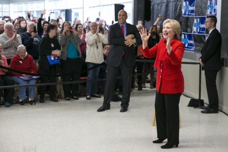 UNITED STATES - JANUARY 24 - Democratic presidential candidate Hillary Rodham Clinton greets the crowd during a Get Out the Caucus event with Sen. Cory Booker, D-N.J., at Vernon Middle School, in Marion, Iowa, Sunday, Jan. 24, 2016. (Photo By Al Drago/CQ Roll Call)