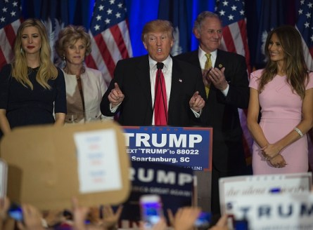 Republican presidential candidate Donald Trump celebrates winning the South Carolina primary in Spartanburg, South Carolina, February 20, 2016.  Republican presidential frontrunner Donald Trump grabbed a big win in the South Carolina primary on February 20, 2016. The 69-year-old Trump captured about a third of the votes, according to early counts, but all major networks projected he was the winner. / AFP / JIM WATSON        (Photo credit should read JIM WATSON/AFP/Getty Images)