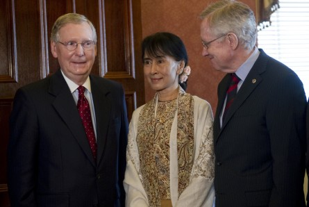 Senators and Kyi 002 091912 445x298 McConnell Outlines Priorities For Burmese Constitution