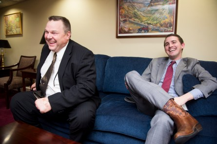 Tester and Jackson sit down for an interview in the senator's Capitol hideaway. (Bill Clark/CQ Roll Call)