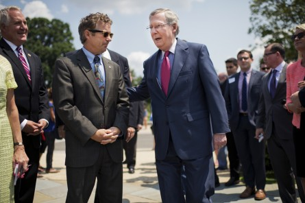Rand Paul and Mitch McConnell are on opposite sides of the NSA surveillance debate. (Tom Williams/CQ Roll Call File Photo)