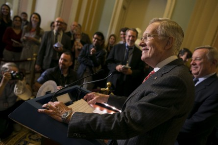 UNITED STATES - September 22: Senate Minority Leader Sen. Harry Reid, D-Nev., smiles as he jokingly addresses that it will only be himself and Assistant Minority Leader, Sen. Richard Durbin, D-Ill., at the weekly Senate Democrat news conference at the Capitol in Washington, Tuesday, September 22, 2015. (Photo By Al Drago/CQ Roll Call)