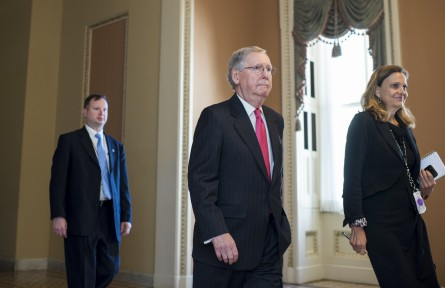 McConnell walks with Soderstrom. (Bill Clark, CQ Roll Call File Photo)