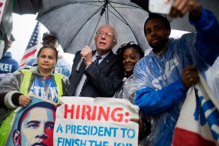 Sanders rallied with workers who went on strike earlier this month. (Tom Williams/CQ Roll Call)