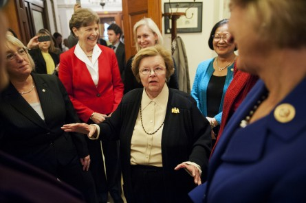 Mikulski, center, talks to her fellow women senators at her Women's Power Workshop. (Tom Williams/CQ Roll Call File Photo)