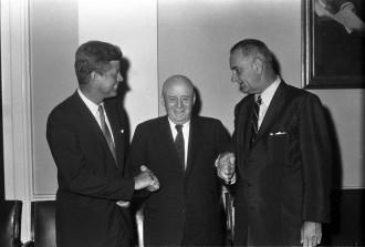 President John F. Kennedy, left, Speaker Sam Rayburn, center and Vice President Lyndon Johnson in 1961. (CQ Roll Call File Photo.)