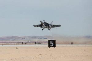 An F/A-18 Super Hornet prepares for landing during flight testing. Lockheed Martin photo