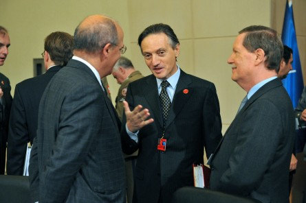 Bisogniero, center, dropped by Capitol Hill for lunch on Thursday. (Mustafa Ozer/AFP/Getty Images)