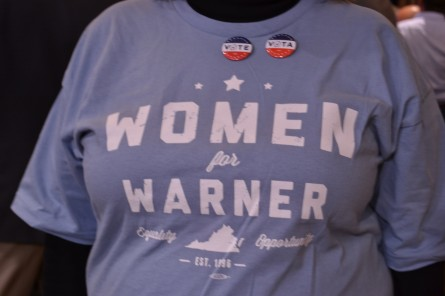 A Mark Warner supporter struts her stuff at the Virginia Democrat's 2014 re-election party. (Warren Rojas/CQ Roll Call)