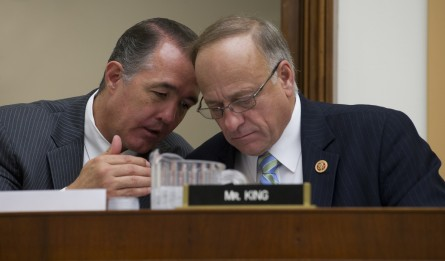 Rep. Trent Franks, left, confers with King at the Judiciary Committee hearing. (Douglas Graham/CQ Roll Call)