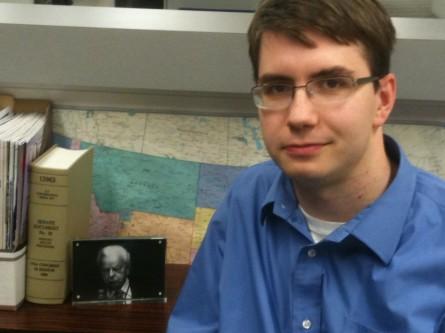 Lesniewski with his favorite reading material Riddick's Senate Procedure. (Jason Dick/CQ Roll Call)