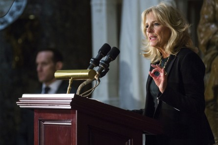 UNITED STATES - MARCH 2 - Dr. Jill Biden speaks while honoring women veterans for their service, in Statuary Hall on Capitol Hill, Wednesday, March 2, 2016. The recipient of an American flag flown over the U.S. Capitol, retired Air Force Brig. Gen. Wilma L. Vaught, was the first woman to deploy with an Air Force bomber unit and the first woman to reach the rank of brigadier general from the comptroller field. (Photo By Al Drago/CQ Roll Call)