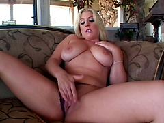 Amateur Blonde Fingers Her Pussy On The Couch Big tits masturbation panties