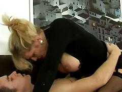 Amazing Blonde Cougar Gets Cock And Facial Treatment Blowjob lingerie missionary