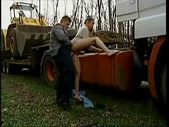 Russian Girl Fucked by the road Amateur public reality