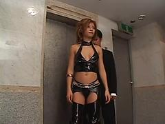 Brunette In Leather Lingerie Toys Her Cunt Asian leather masturbating