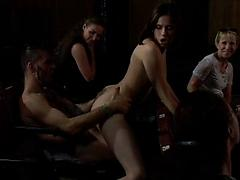 Cute Perky Tits Girl In Theater Fucks Group Of Men Group orgy public reality
