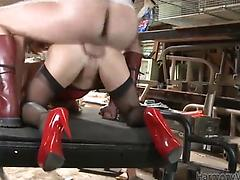 Slutty blonde in a red dress gets huge dick in her asshole Anal asshole babes