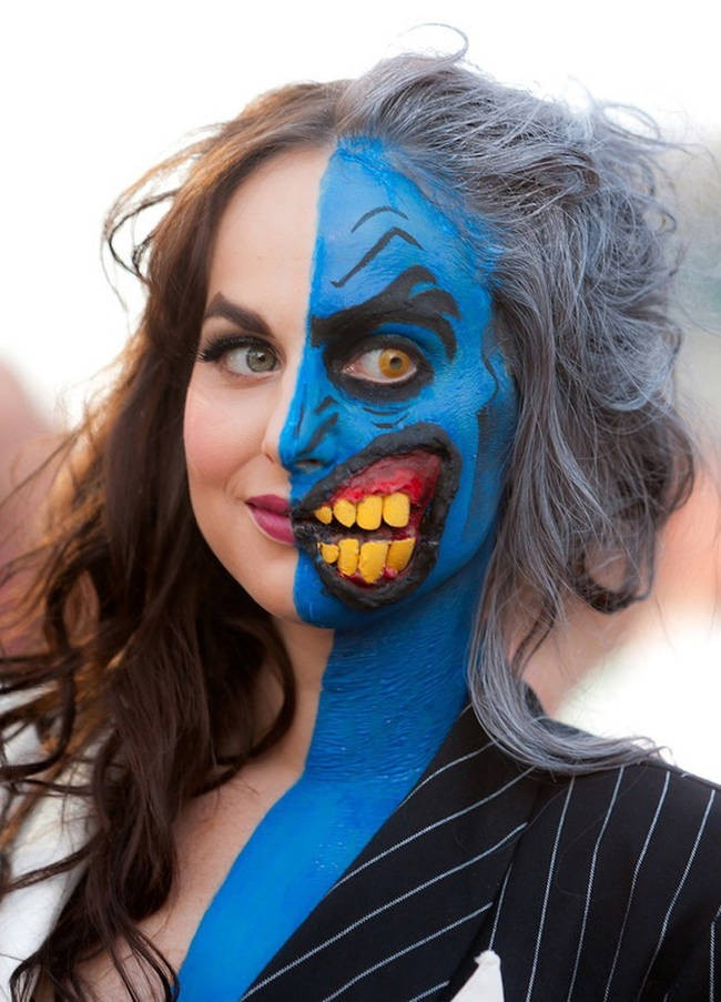 Partying as Lady Two Face would give people a heart attack.