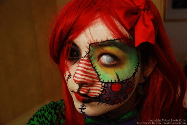 But a Patchwork doll make-up will scare them out...especially with that eye!