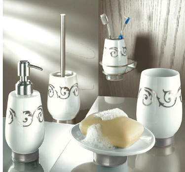 Viva Silver White Porcelain Tumblers Toothbrush Holders Porcelain Toilet Brush Holders And