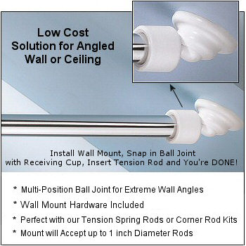 angled shower rod wall mount low cost