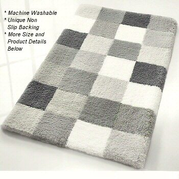 caro : checker pattern rich multi color plush bathroom rug