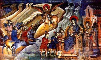 The Salutation of newborn Jesus by the three Wisemen of the East, Markov Manastir, Skopje, 14th century.