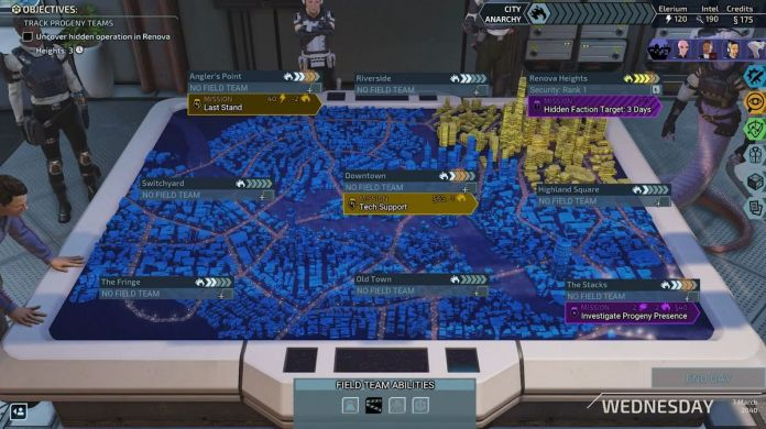 The world map of Chimera Squad shows a city map with colored areas of control. Missions are spread out all over the city.