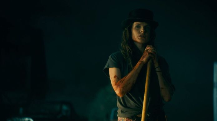 Rose the Hat (Rebecca Ferguson) covered in blood after murdering Baseball Boy in Doctor Sleep