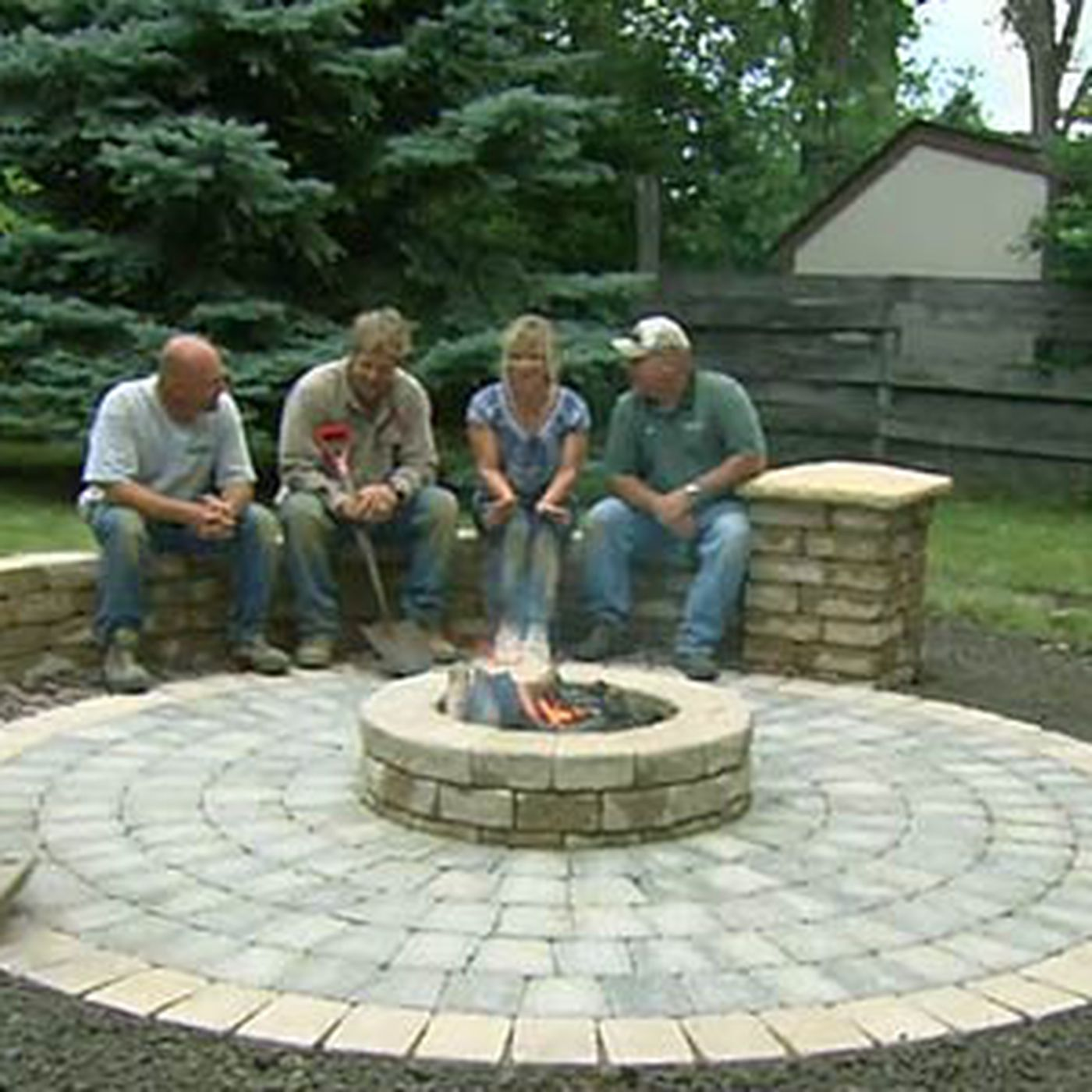to build a round patio with a fire pit