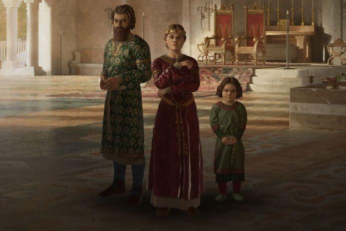 Three Italian royals pose on the CK3 start menu.