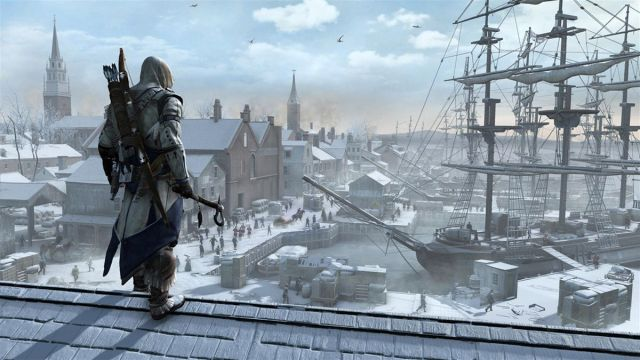 Assassin's Creed 3 - Connor standing on a rooftop overlooking a snowy Boston Harbor